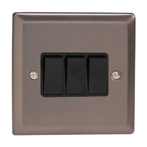 Varilight XR3B Classic Pewter 3 Gang 10A 1 or 2 Way Rocker Light Switch